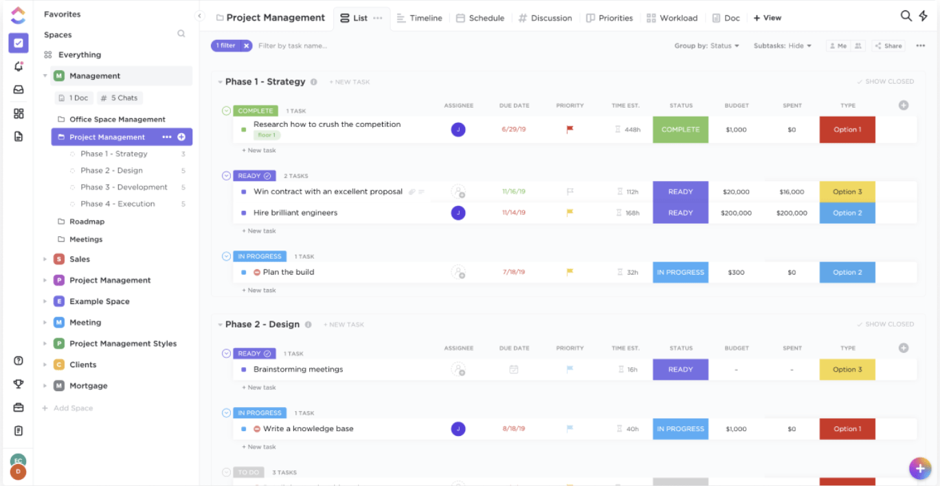project list view in ClickUp