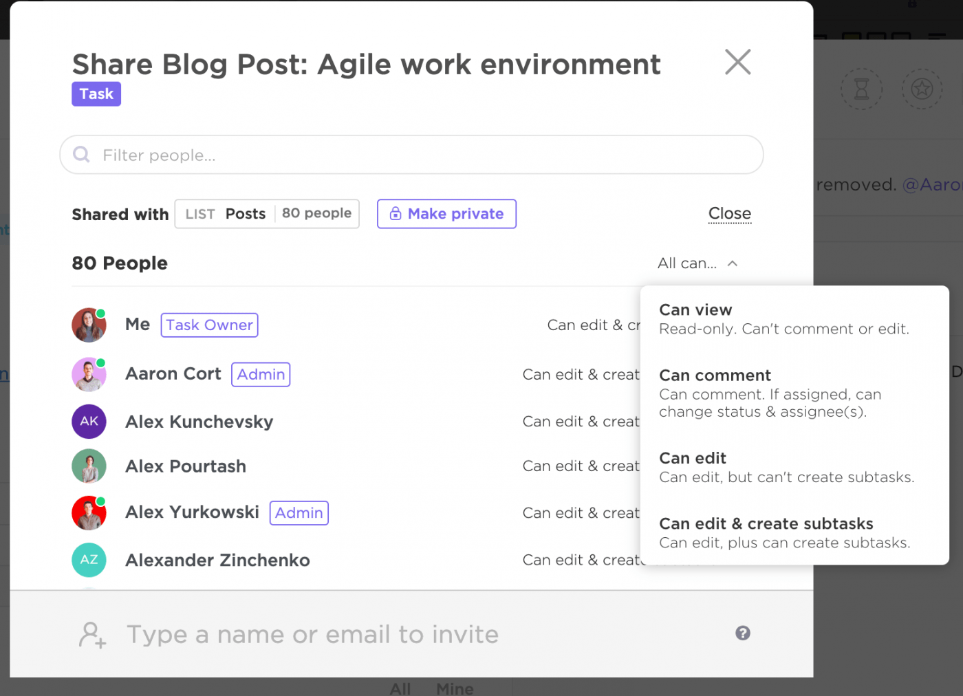 sharing a blog post about Agile in ClickUp