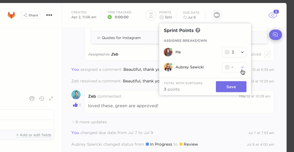 sprint points in clickup