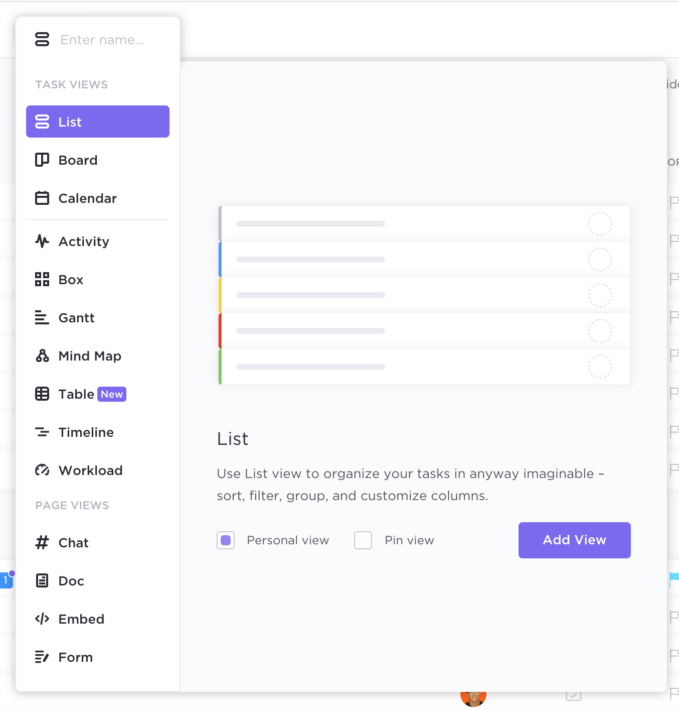 selecting a view in ClickUp