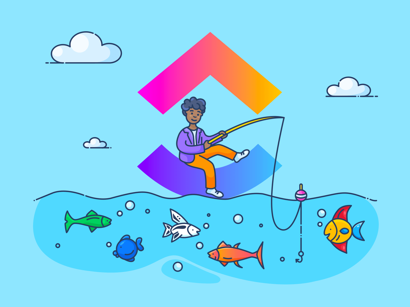 person fishing from ClickUp logo