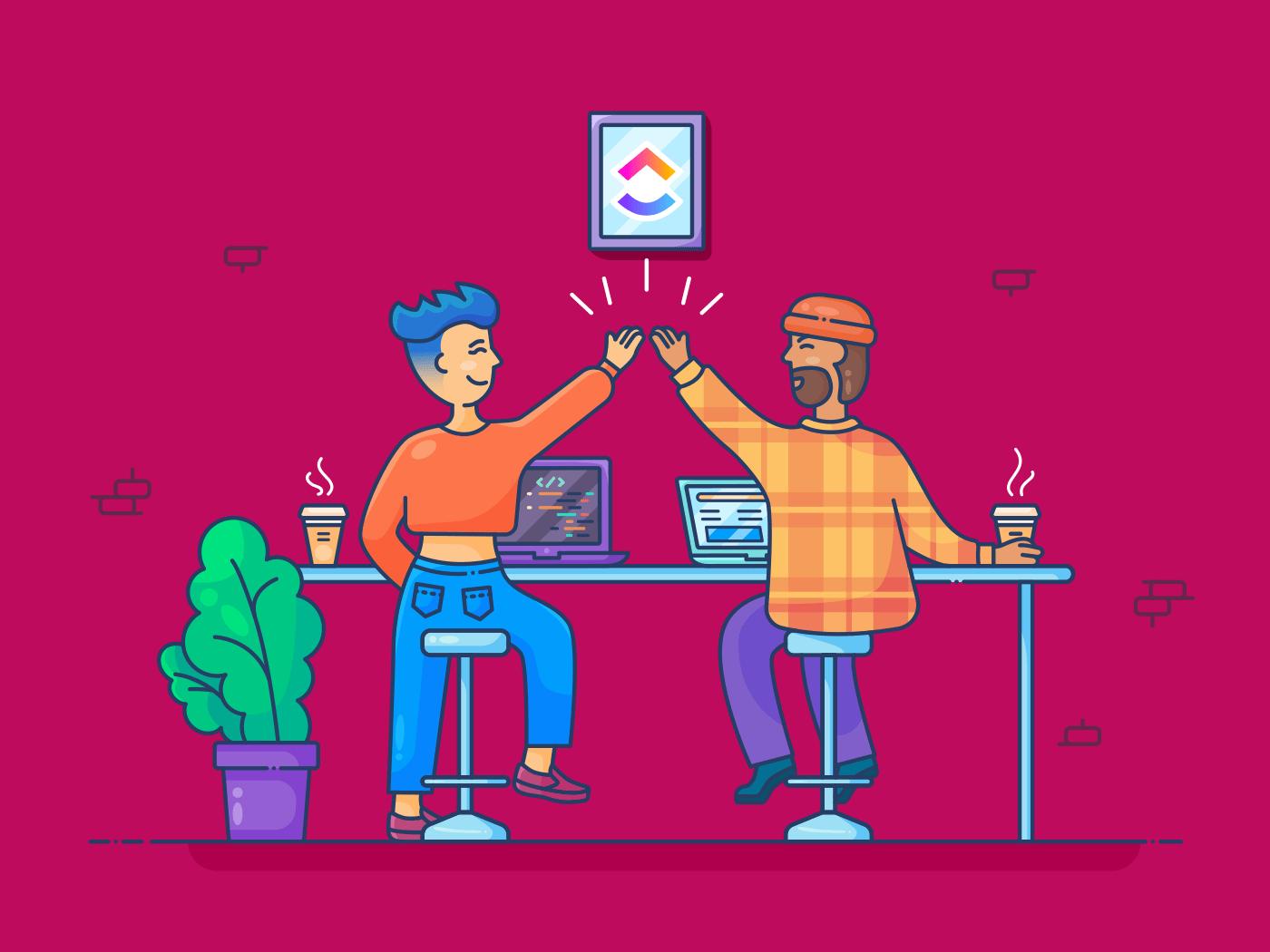 marketer and developer working together