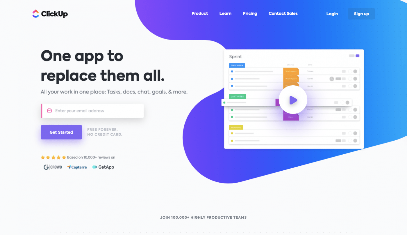 ClickUp home page
