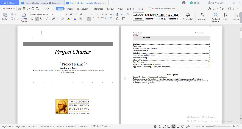 GWU charter template