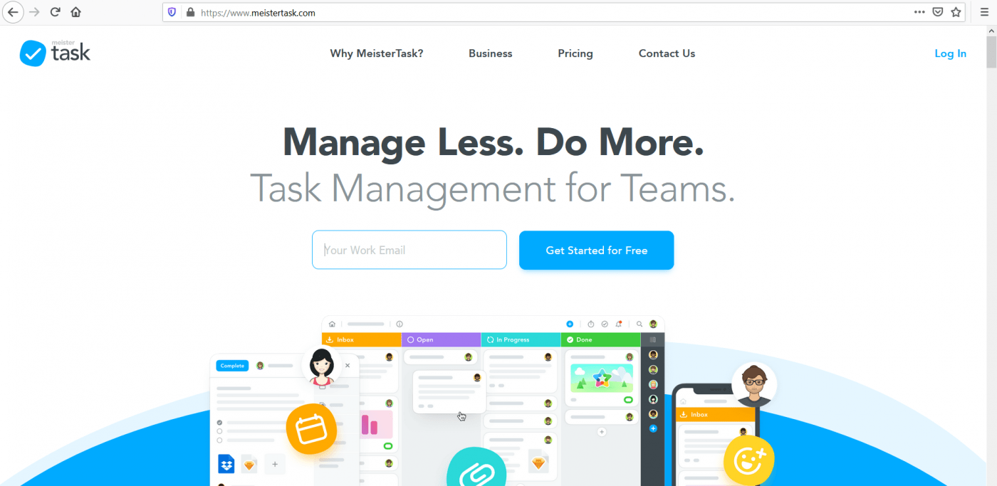 Meistertask home page