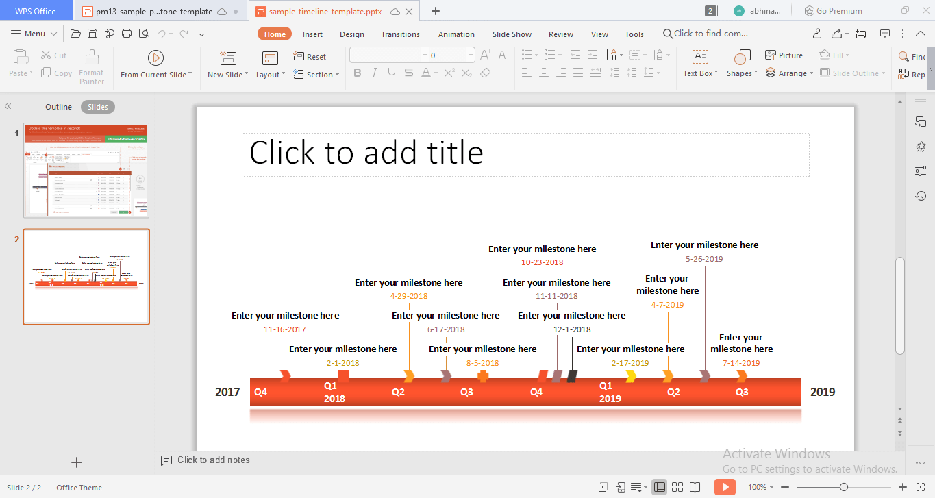 PowerPoint milestone chart template from Office Timeline