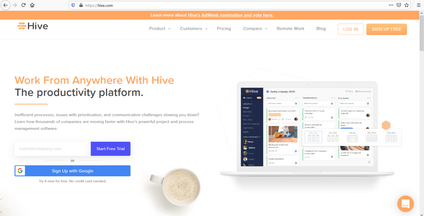 Hive home page
