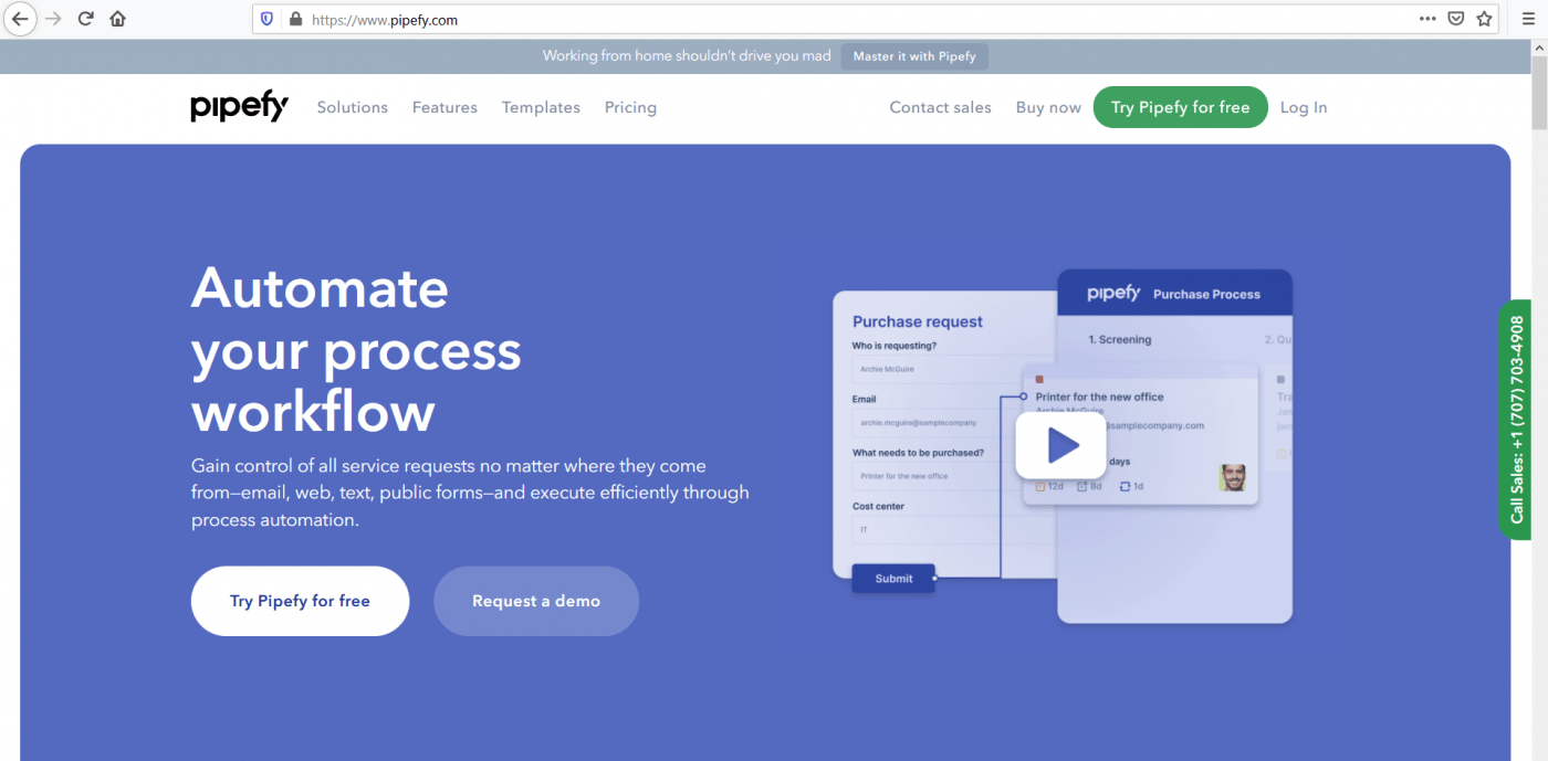 Pipefy home page