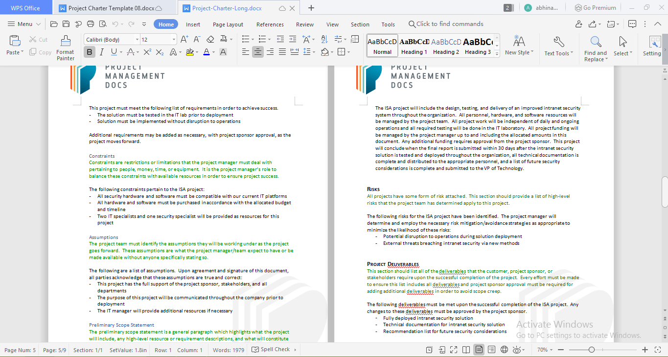 Project charter by Project Management Docs