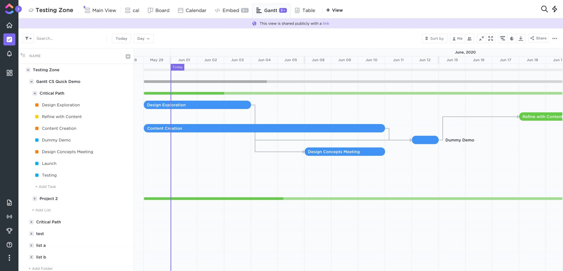 gantt chart in ClickUp