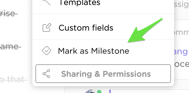marking a task as a milestone