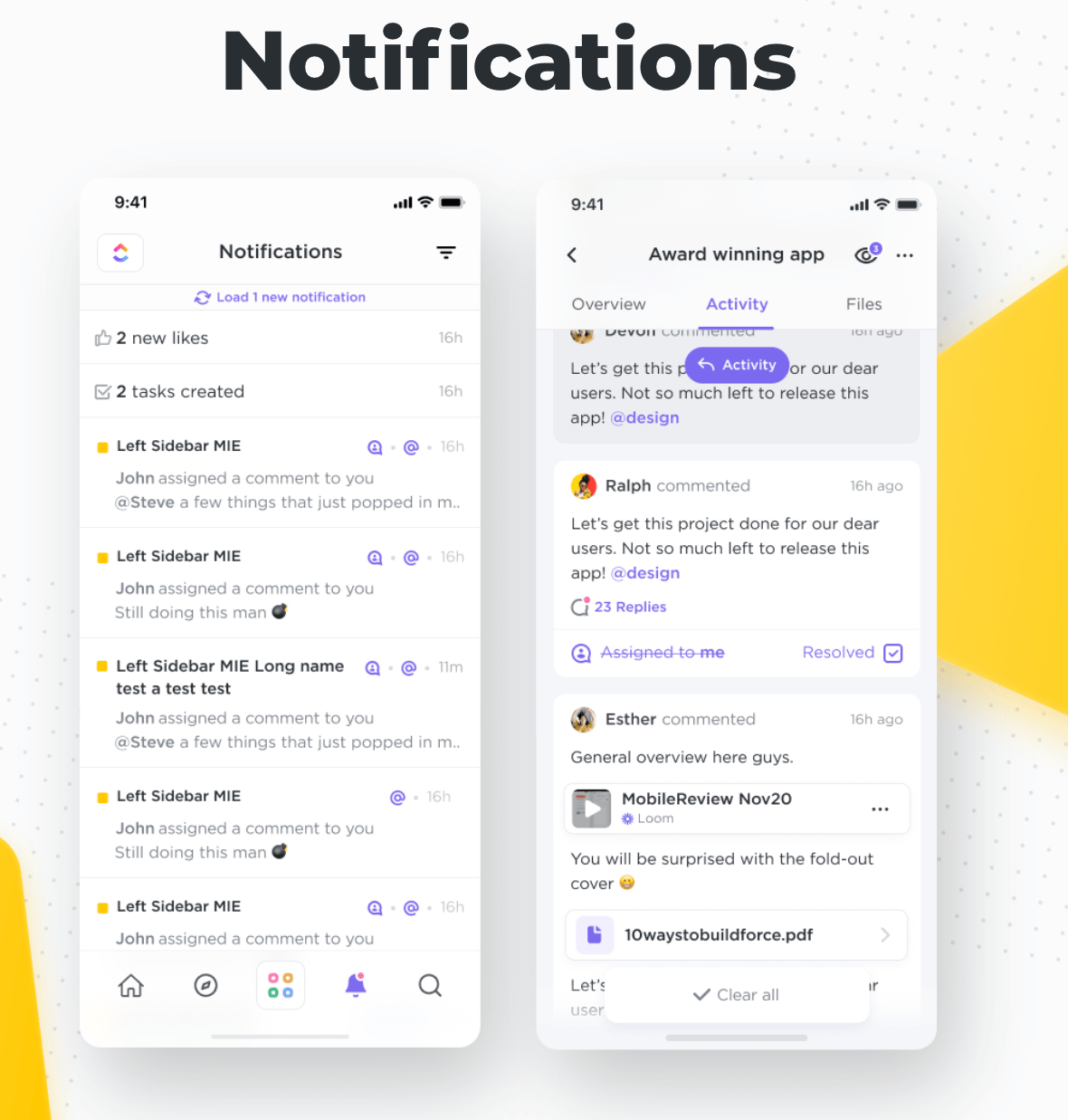 clickup mobile notifications