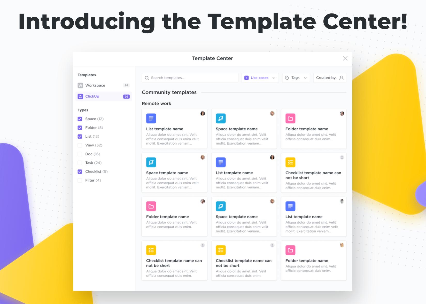 clickup template center