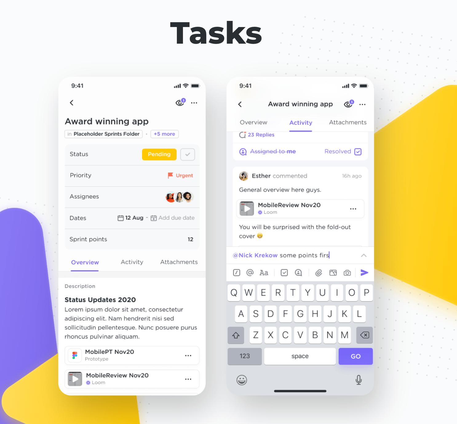 clickup mobile tasks