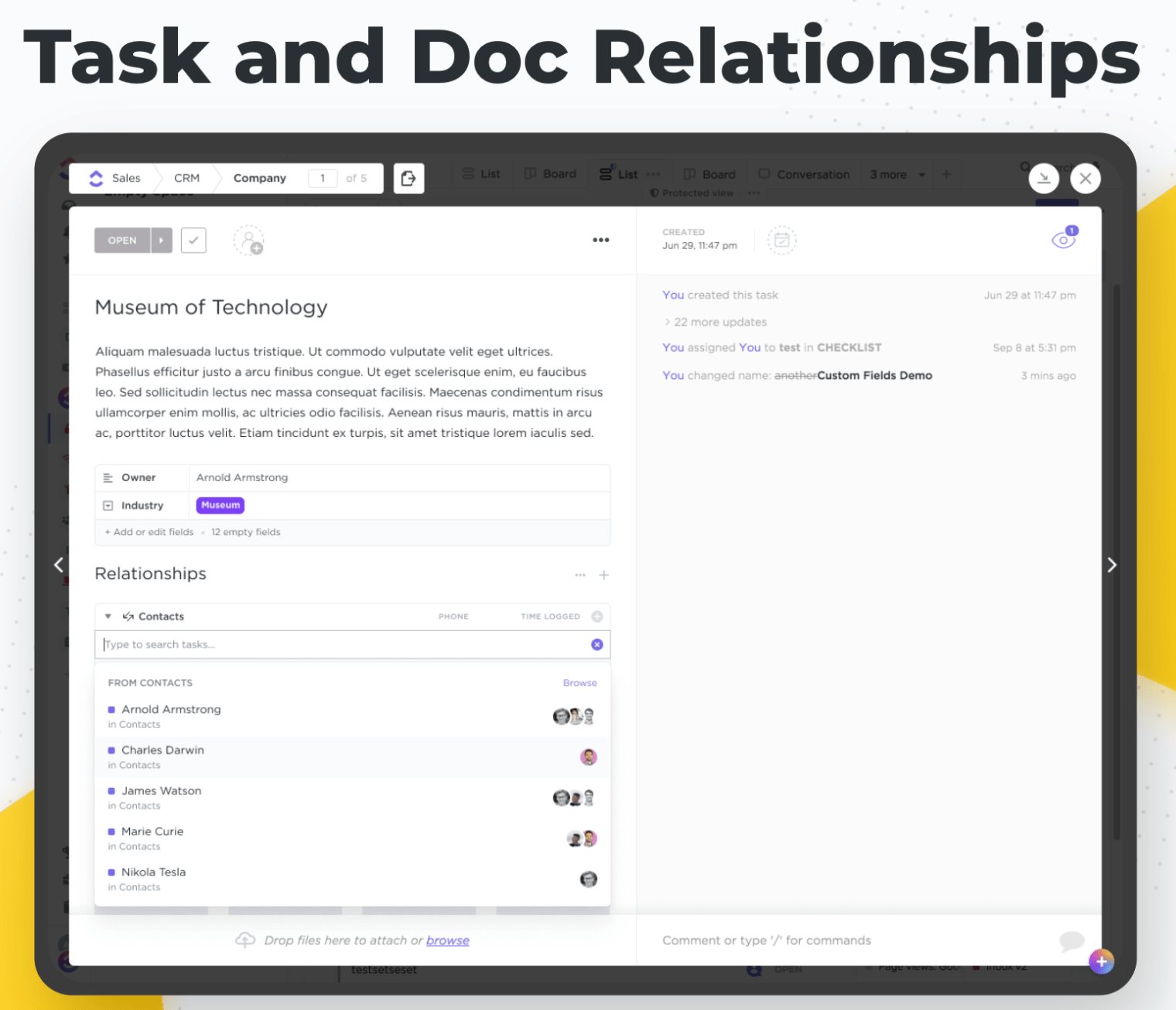 task and doc relationships in clickup