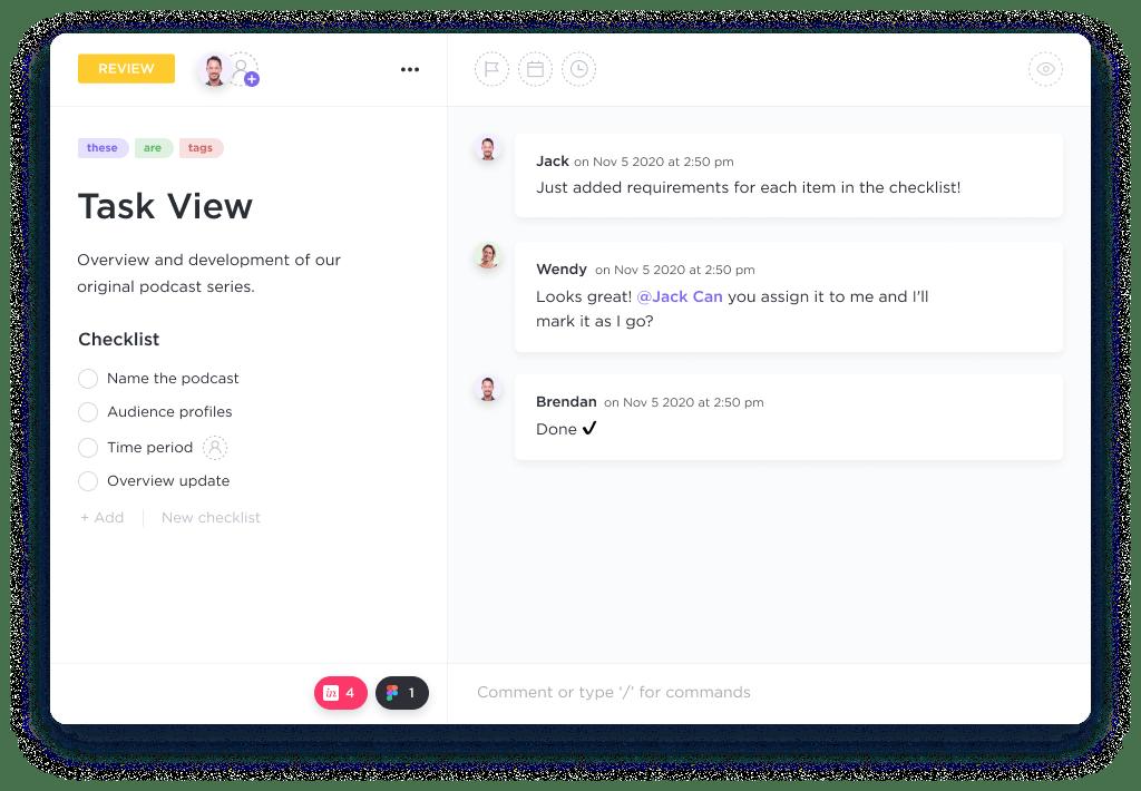 task view in ClickUp