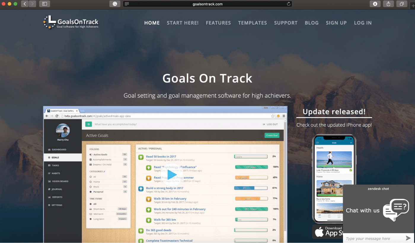 goals on track homepage