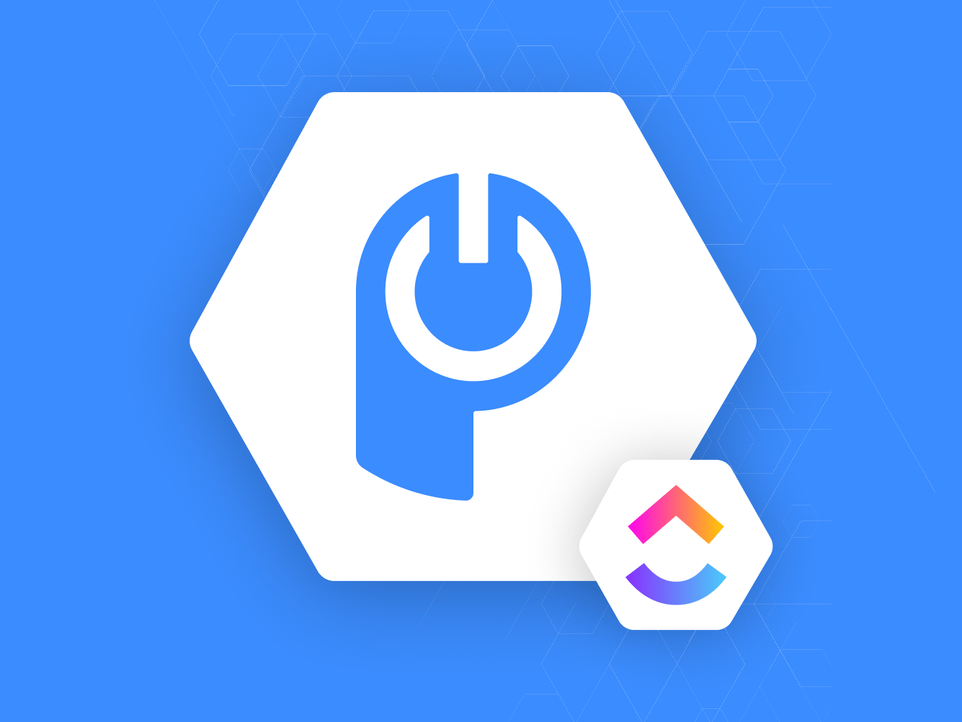 white and blue POWR icon with ClickUp logo