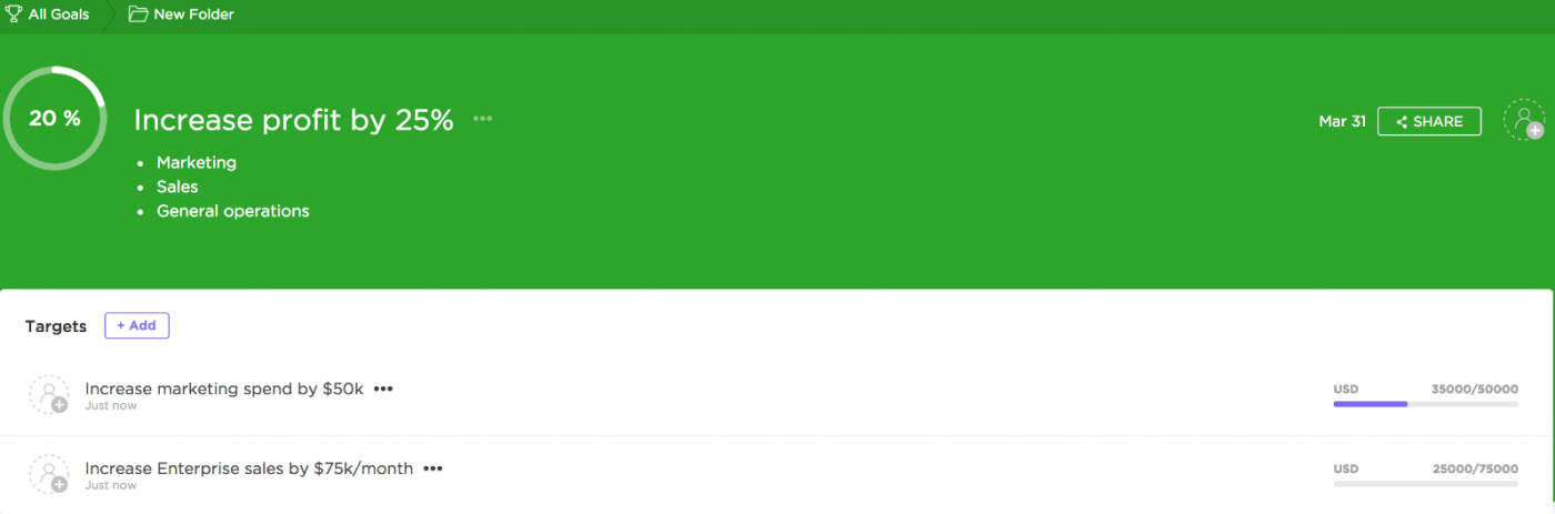 image of Goal progress on ClickUp
