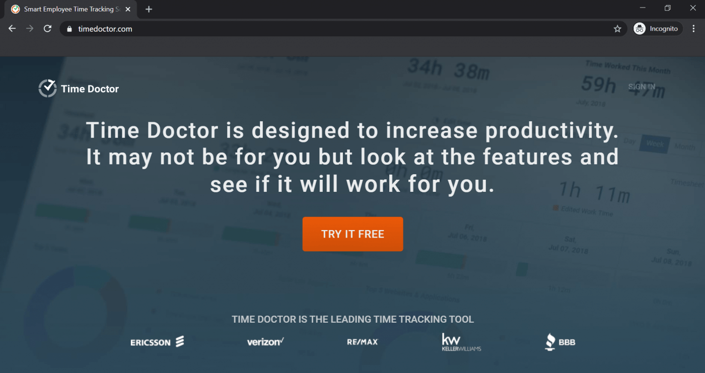Time Doctor landing page