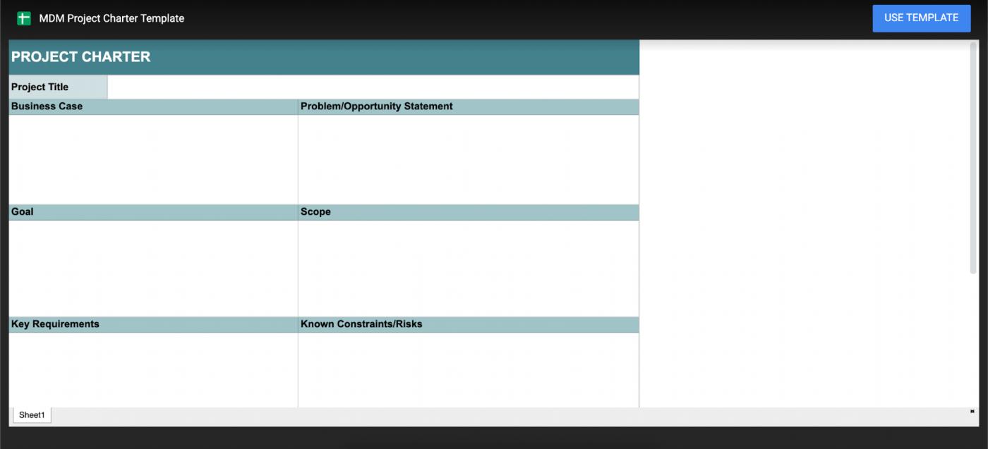 Google Sheet project charter template