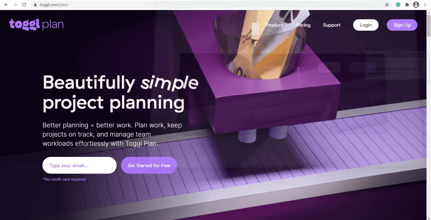 Toggl Plan landing page