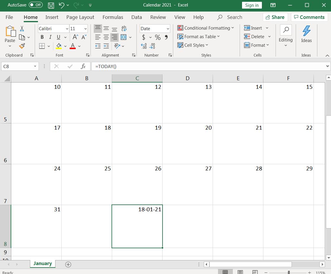 spreadsheet displaying multiple dates