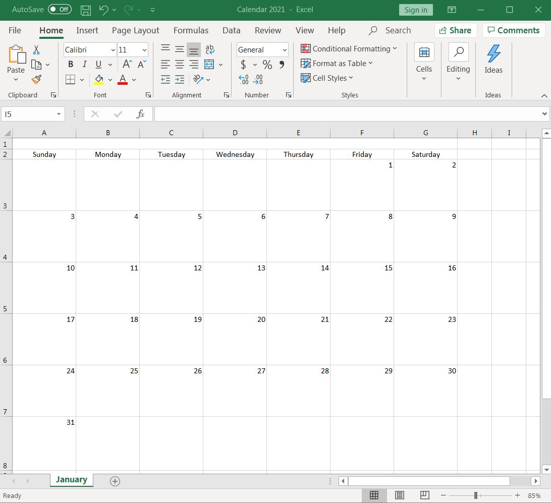 spreadsheet formatted like a calendar