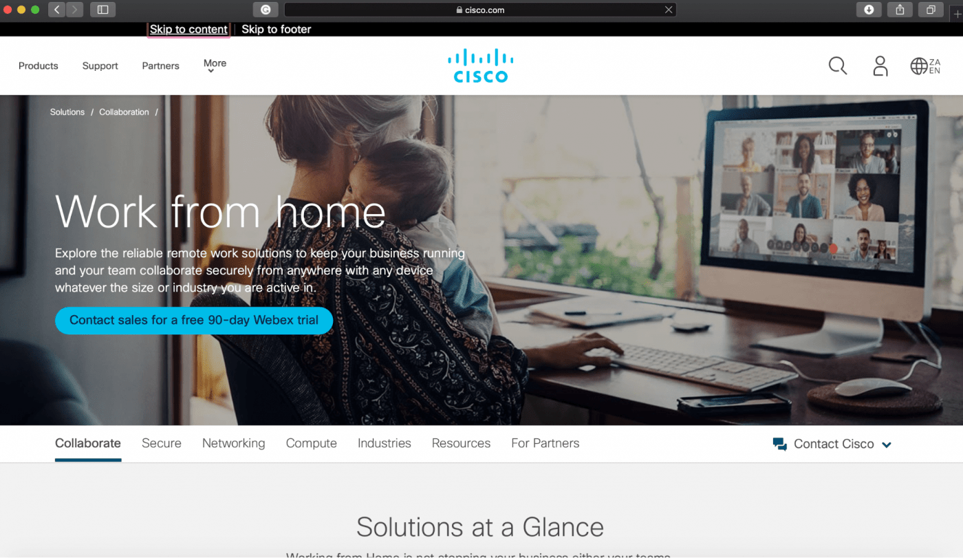 Cisco Webex Teams landing page