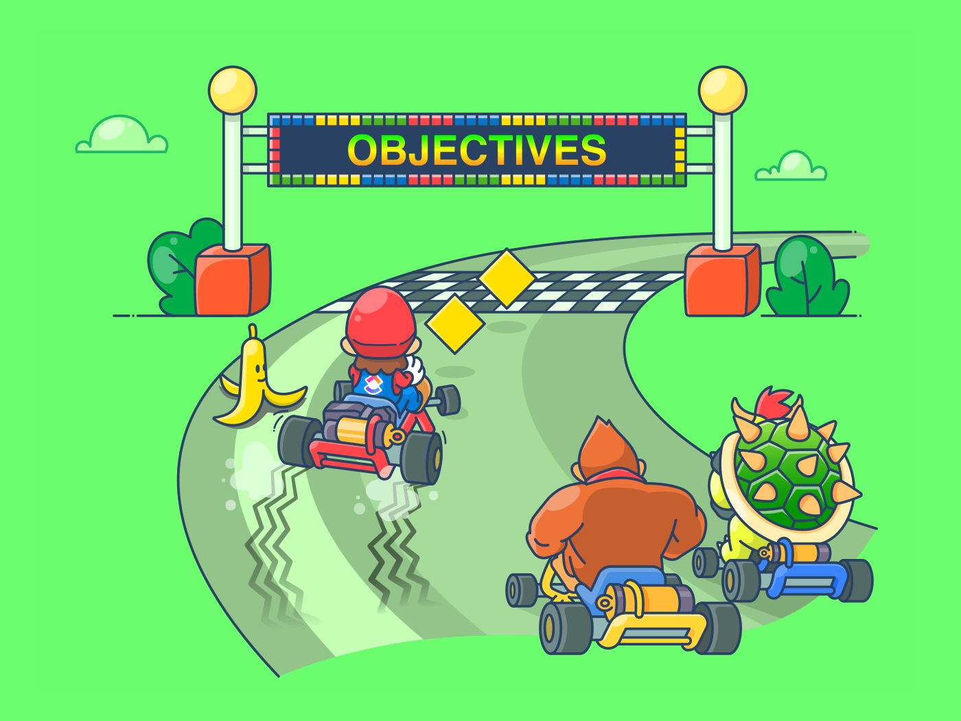 image of Mario and Donkey Kong kart racing