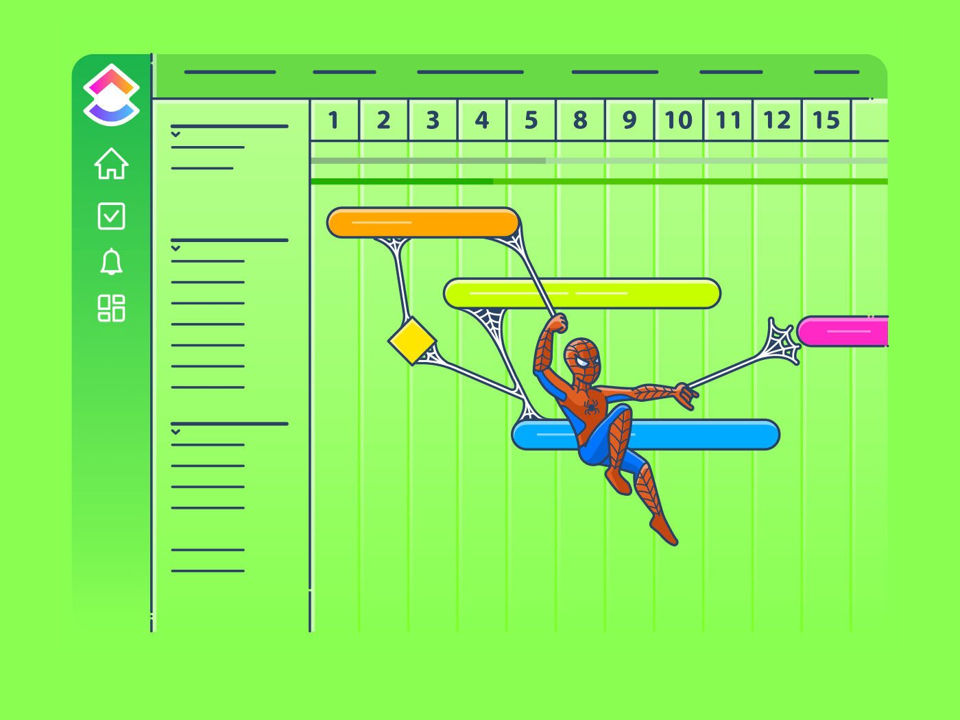 spiderman connecting tasks with webs