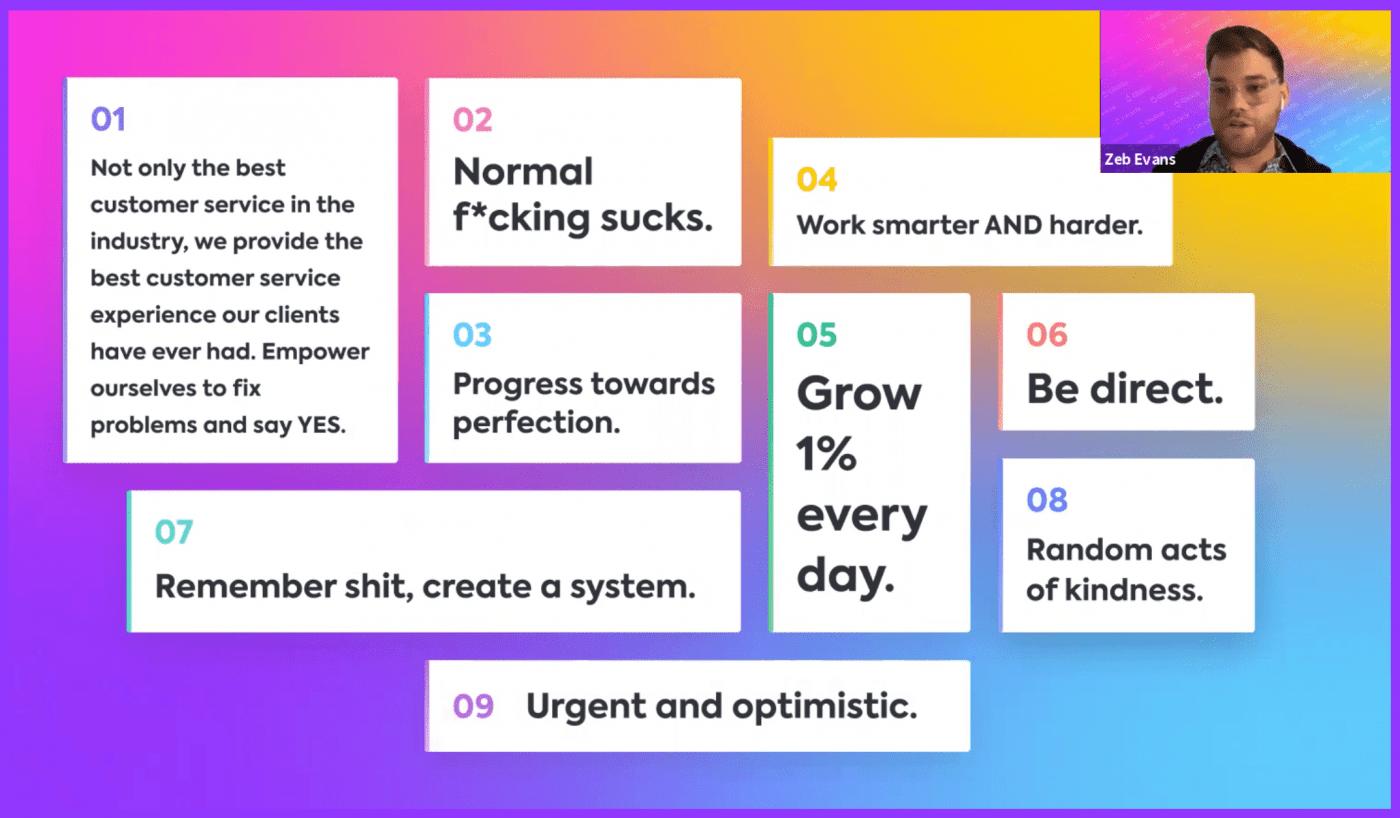 Zeb presenting ClickUp's core values