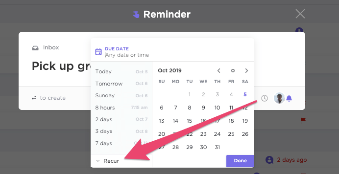 reminders in ClickUp