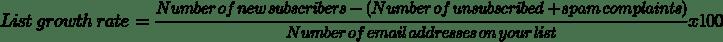 list growth rate formula