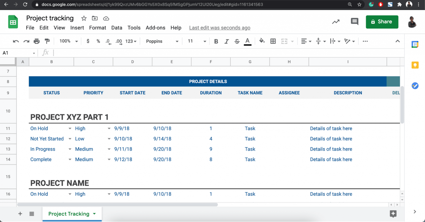 google sheet project tracking dashboard