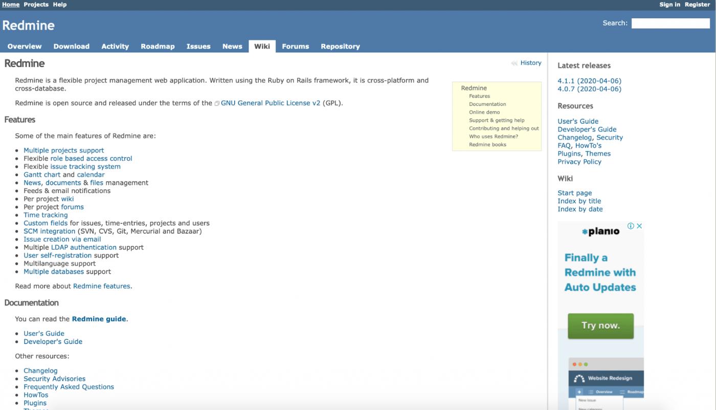 redmine tool webpage