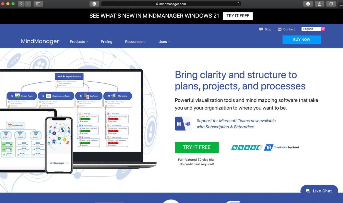 Mindjet MindManager homepage