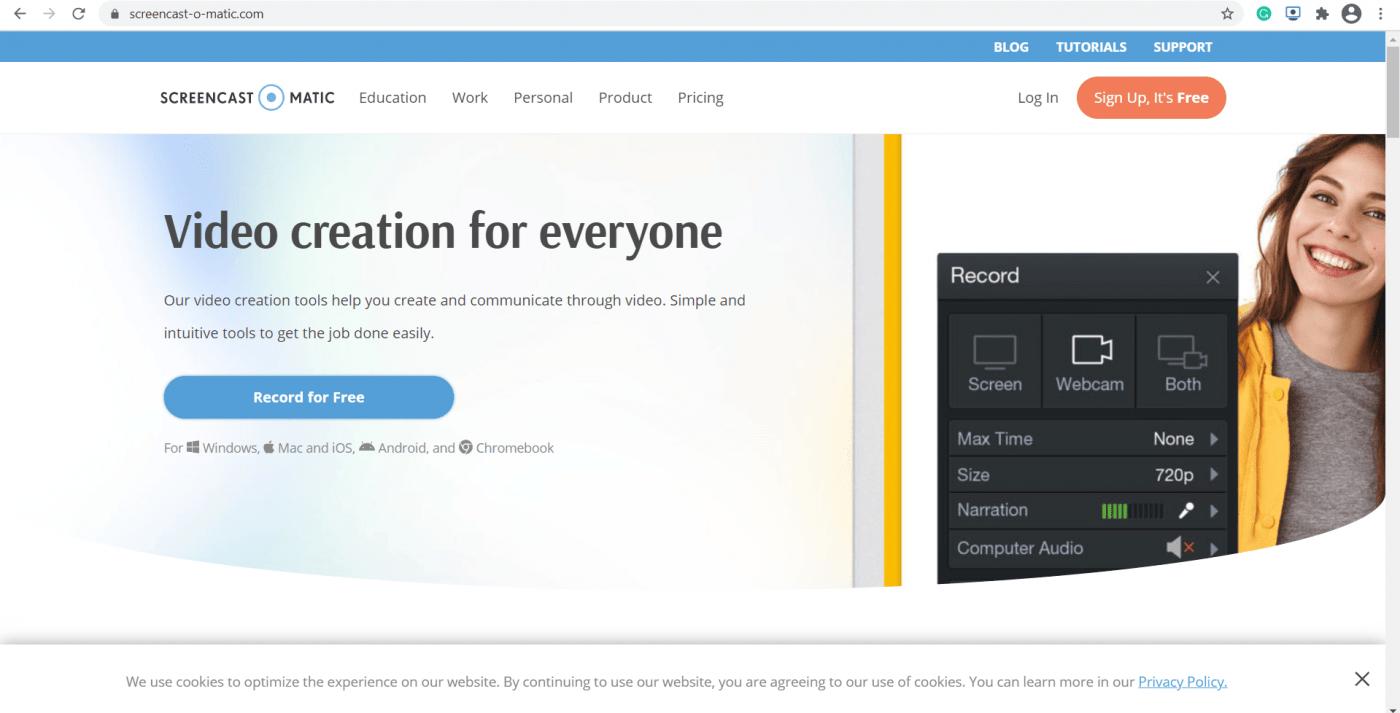 Screencast-O-Matic homepage