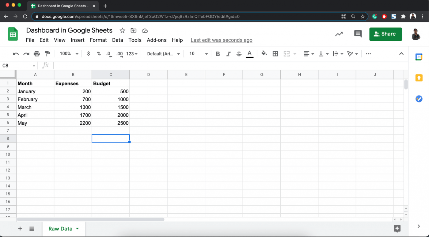 google sheet with budget