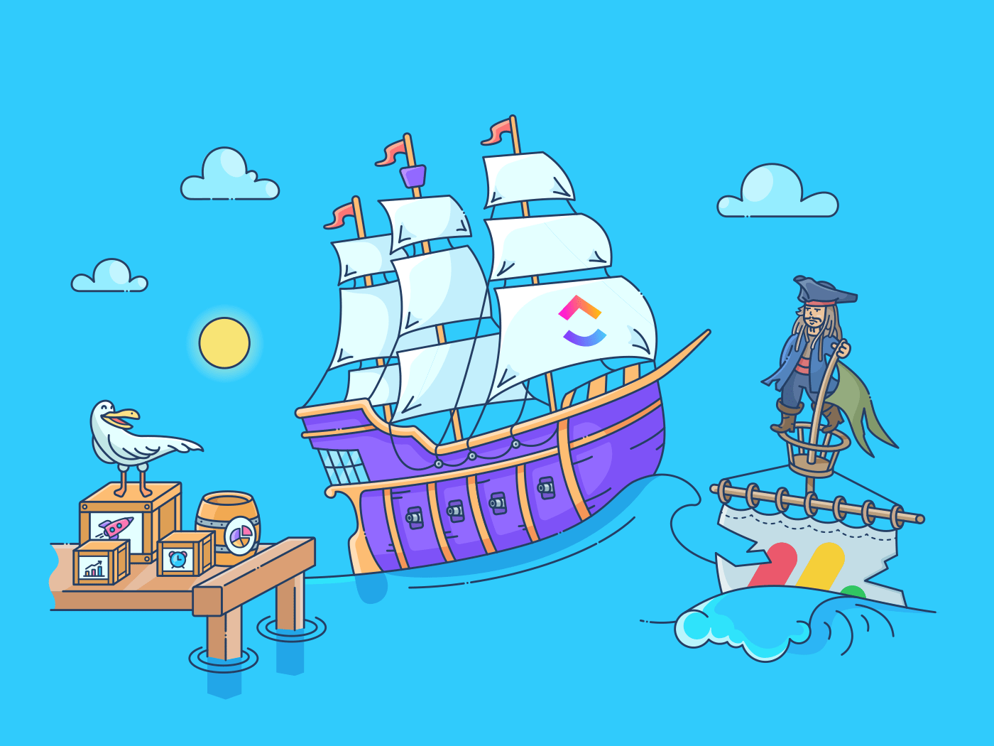 ClickUp pirate ship