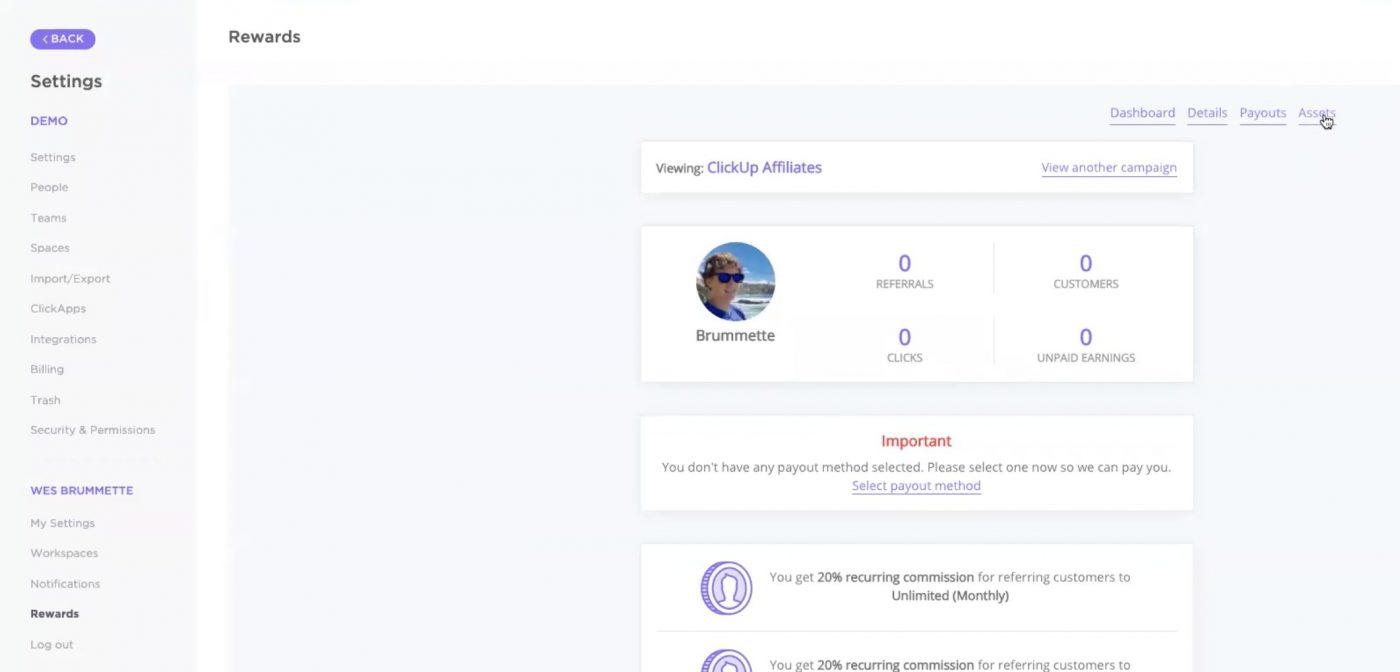 ClickUp Affiliate program rewards