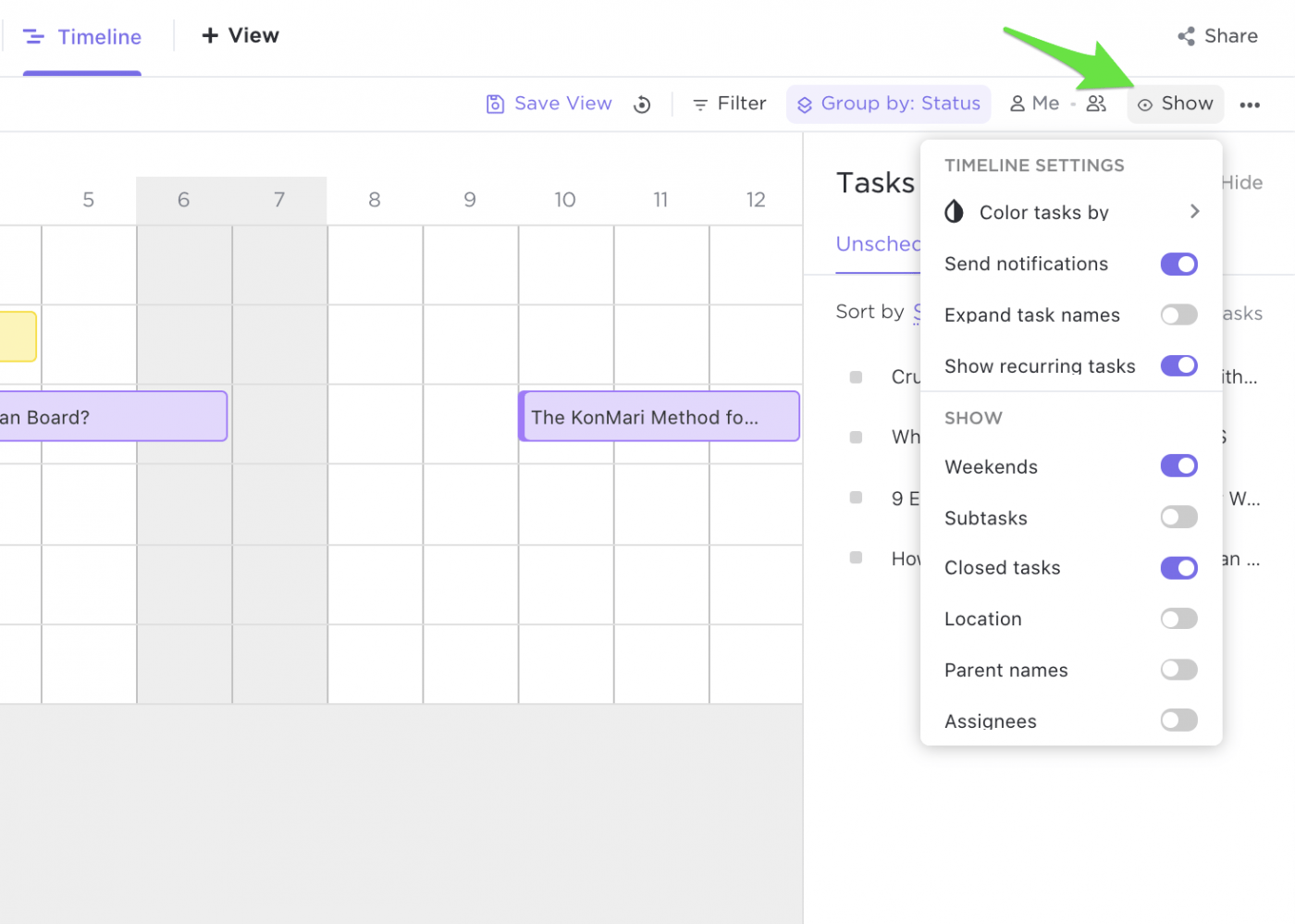customize timeline view in clickup