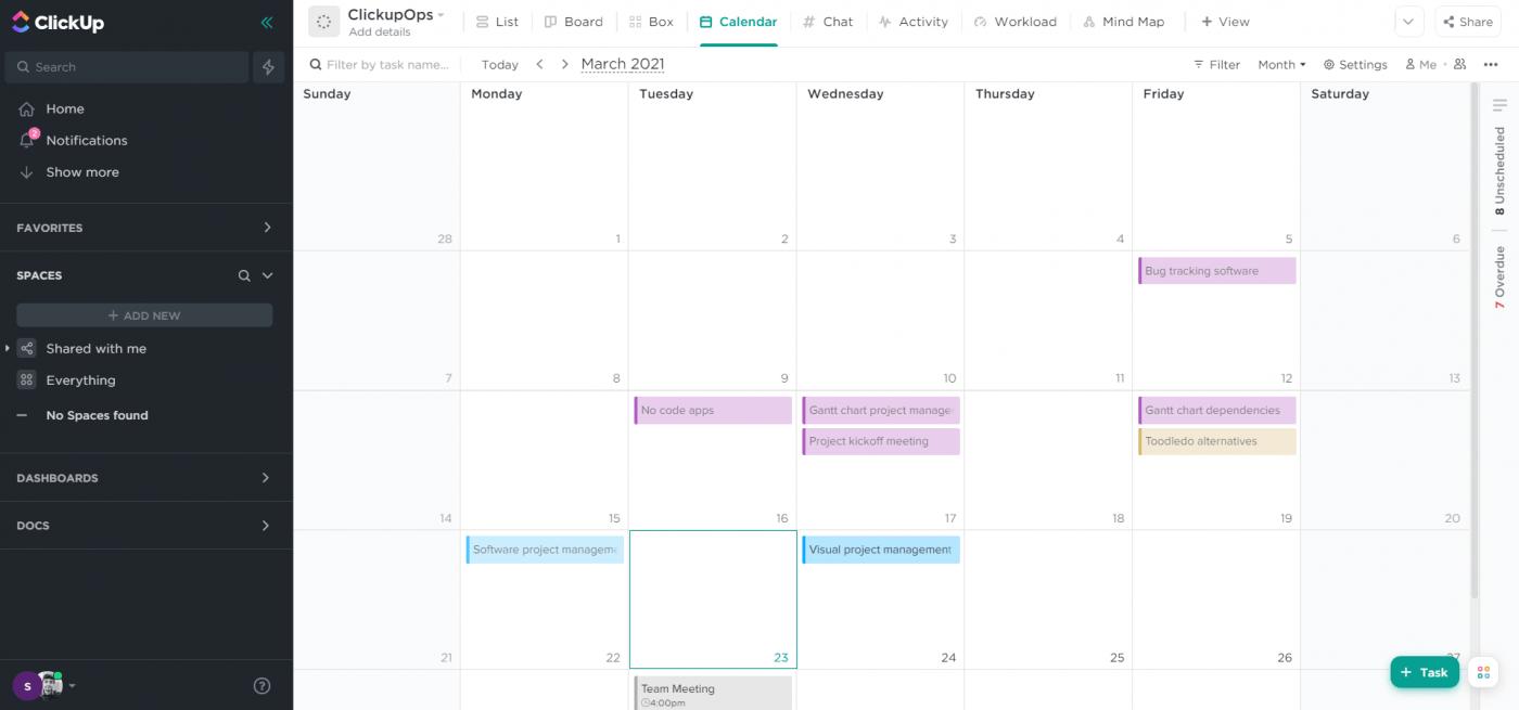 calendar view in clickup