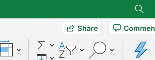 share button in excel