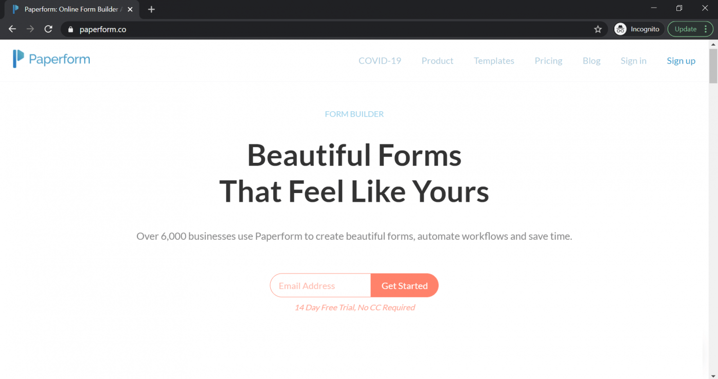 paperforms landing page