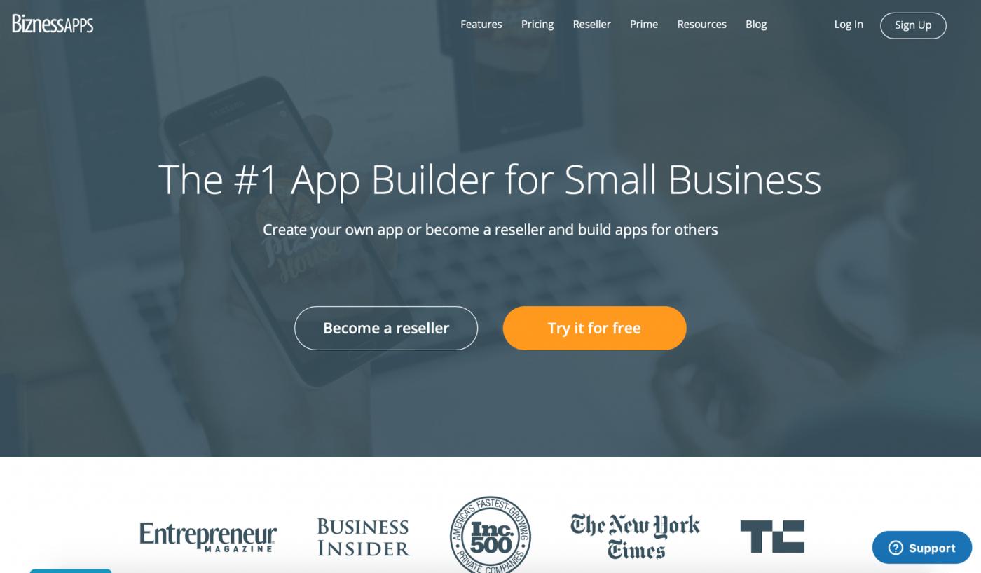 bizness apps landing page