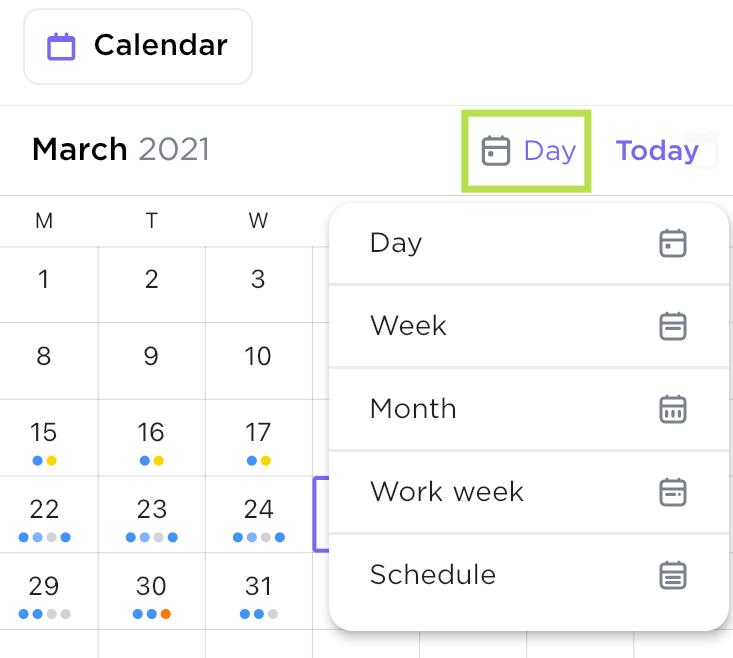 calendar view in mobile