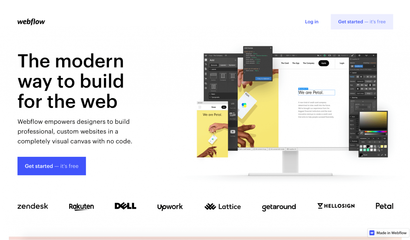 webflow landing page