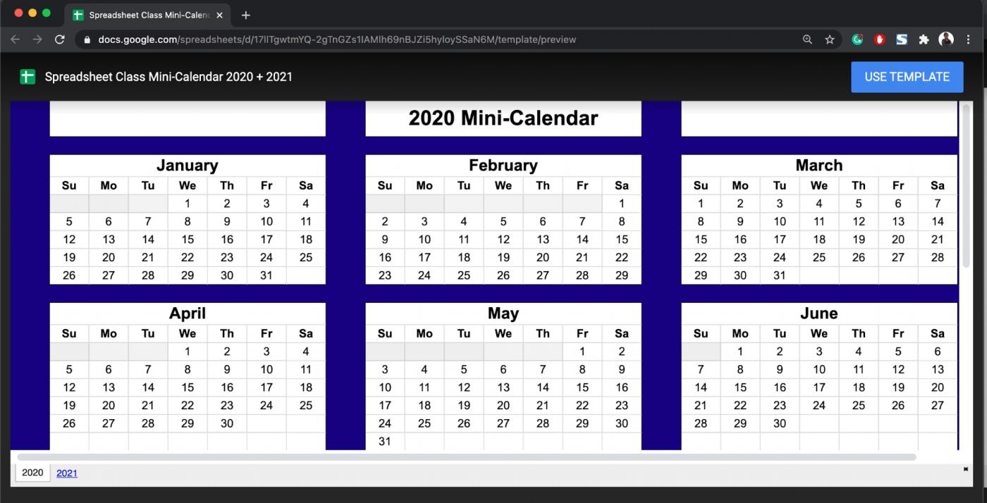 mini google sheets calendar