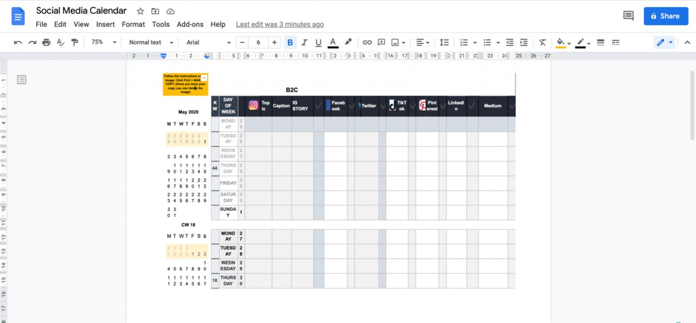 social media calendar in Google Doc